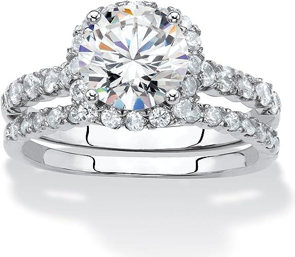 2 Pcs Engagement// Wedding Style Diamante Rhinestone Rings.Gold Or Silver Tone