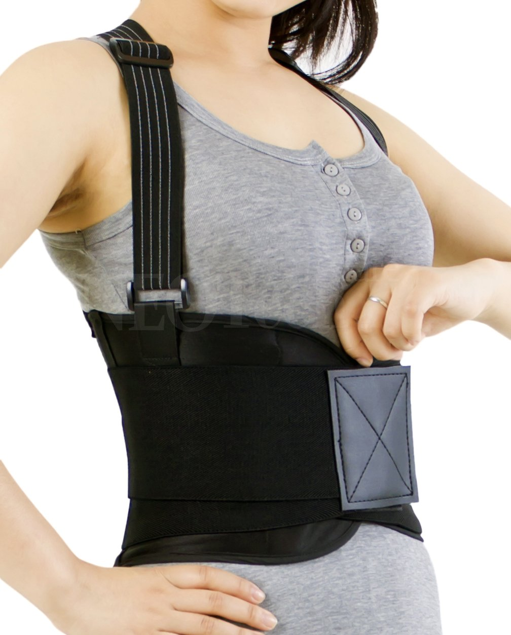 Back Brace with Suspenders for Women - Adjustable - Removable Shoulder Straps - Lumbar Support Belt - Lower Back Pain, Work, Lifting, Exercise, Gym - Neotech Care Brand - Black - Size M