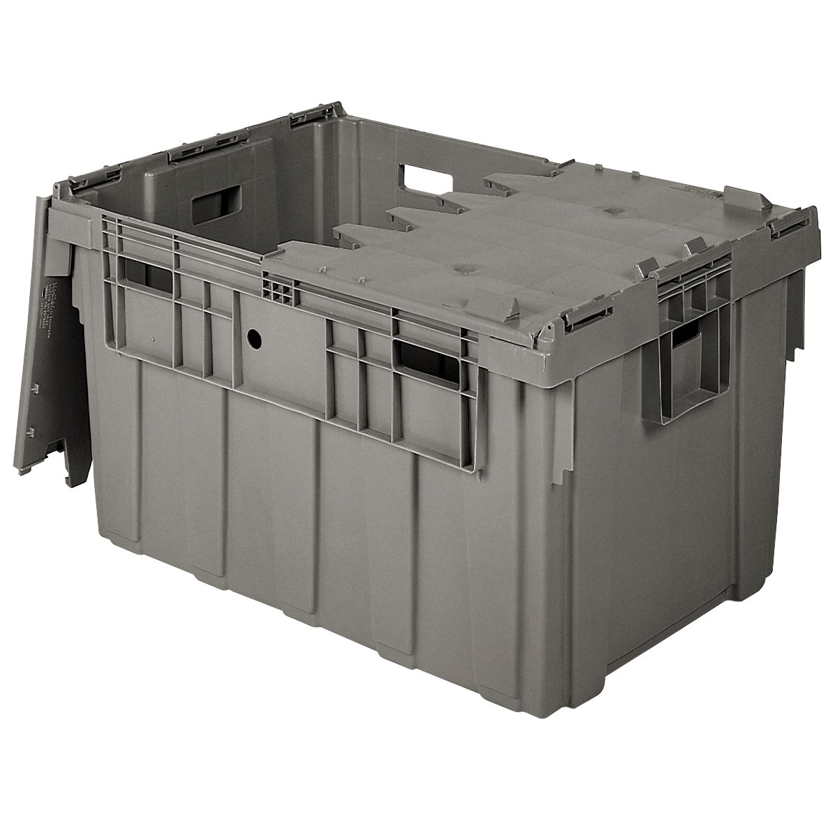 Buckhorn AS3424201201000 Attached Lid Flip Top Storage and Distribution  Plastic Tote, 34-Inch x 24-Inch x 20-Inch, Grey
