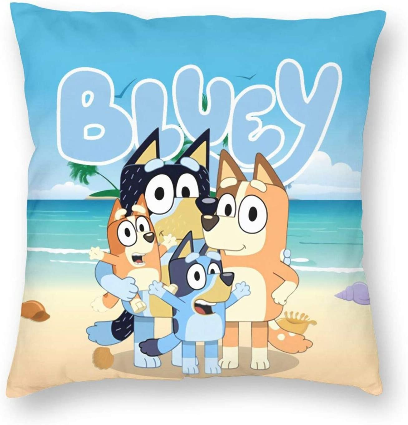 FT FENTENG Soft Velvet Sofa Bed Cushion Cases for Bedbugs Hypoallergenic, Blue-Y Cartoon Blue Heeler Dog Farmhouse Home Decorative Square Pillowcases, 16x16 Inch