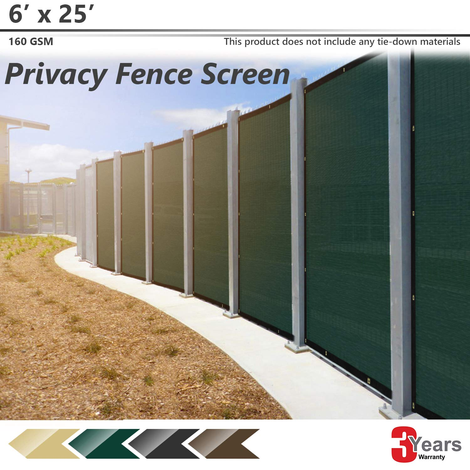 3 Years Warranty BOUYA Black Privacy Fence Screen 4 x 25 Heavy Duty for Chain-Link Fence Privacy Screen Commercial Outdoor Shade Windscreen Mesh Fabric with Brass Gromment 160 GSM 88/% Blockage UV