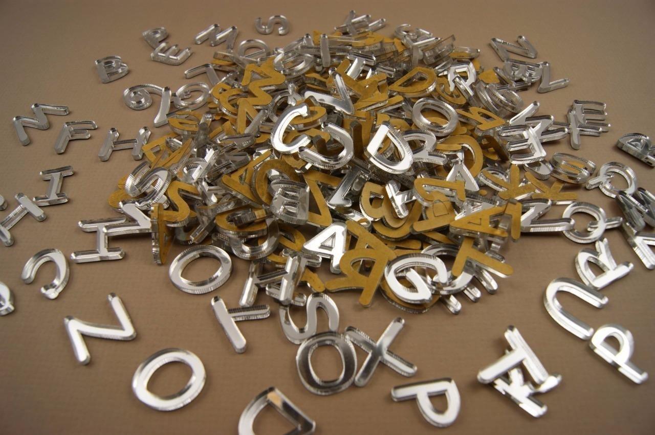 250+ Plexiglas kleine Buchstaben (1cm) Alphabet Dekoration Selbstklebend (NF19) Decocraft