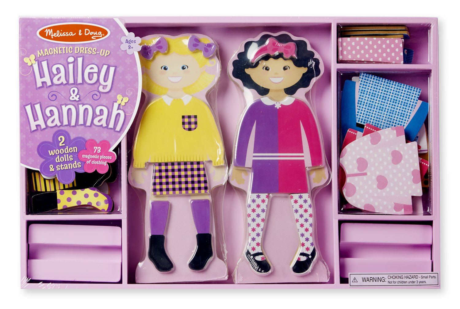 Melissa and Doug Hailey and Hannah Magnetic Dress-Up Dolls Set popular girls toys age 3