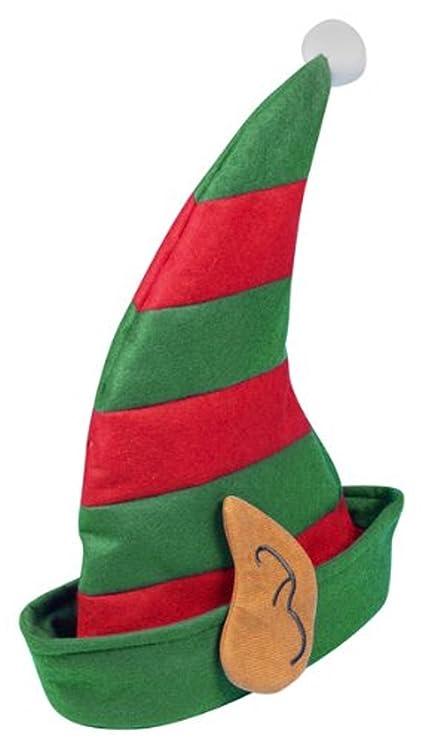 Cappello Natalizio da Elfo con Orecchie , Verde e Rosso, Taglia unica da  bambini,