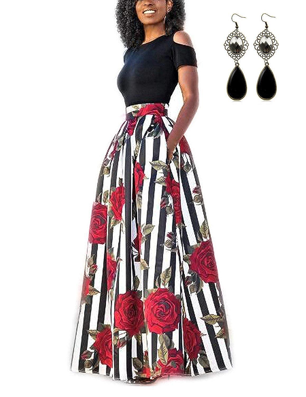 TALLA XXL. carinacoco Mujer Vestido Fiesta Vintage Floral Impresa Dos Piezas de Cóctel Fiesta Color 1 XXL