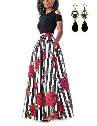 buy online 4da3f 27ebe carinacoco Donna Vestiti Lunghi Due Pezzi Senza Spalline Manica Corta  Camicetta + Rosa Stampa Gonne Lungo Elegante Vestito Abito Maxi da Sera