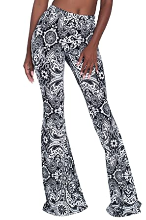 7435731e436847 Herose Tall Girls Floral Printed Slim Fit Ankle Length Flared Beach Pants S  Black