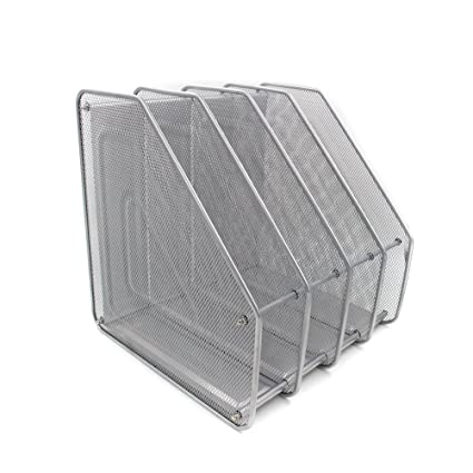 WINOMO Mesh Metal 4 Compartment Freestanding Desktop Documents / Magazines / Notebooks / Folder Organizer Rack