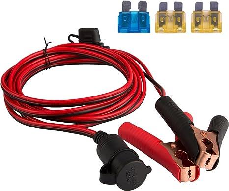 Futaikang Tragbarer Zigarettenanzünder Zum Aufstecken Kabelbuchse Adapter Mit 3 X Sicherungsschutz Für Autobatterie Wechselrichter Kompressor 3 M 12v 24v Auto