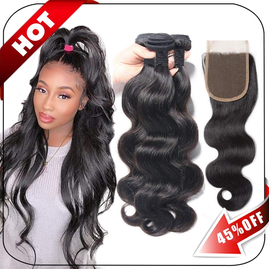 Brazilian Hair Body Wave 3 Bundles With Closure Virgin Human Hair Weave With Lace Closure Free Part Natural Black (10/12/14+10 Inch, Bundles With Closure) by SAKALAKA