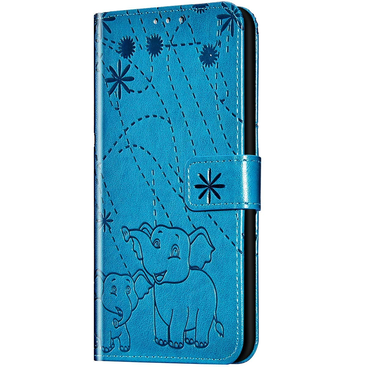 Case for Galaxy A6 Plus 2018 Flip Case Premium Soft PU Leather Embossed with Folding Stand, Card Slots, Wristlet and Magnetic Closure Protective Cover for Galaxy A6 Plus 2018,Blue by ikasus
