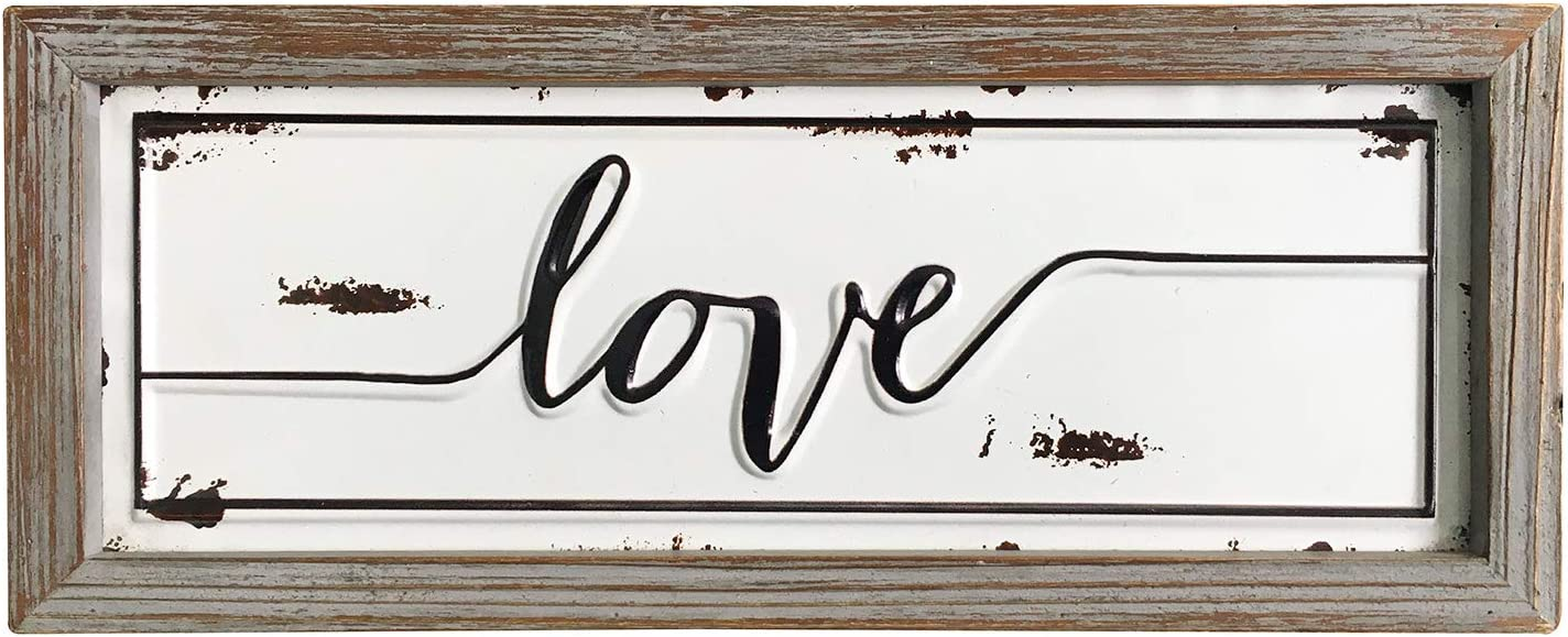 "DeliDecor Love - 12"" X 5"" Wooden Signs Wall Decor Rustic Embossed Retro Metal and Wood Framed Sign Modern Farmhouse Wall Hanging Art Love Sign Home Decor"