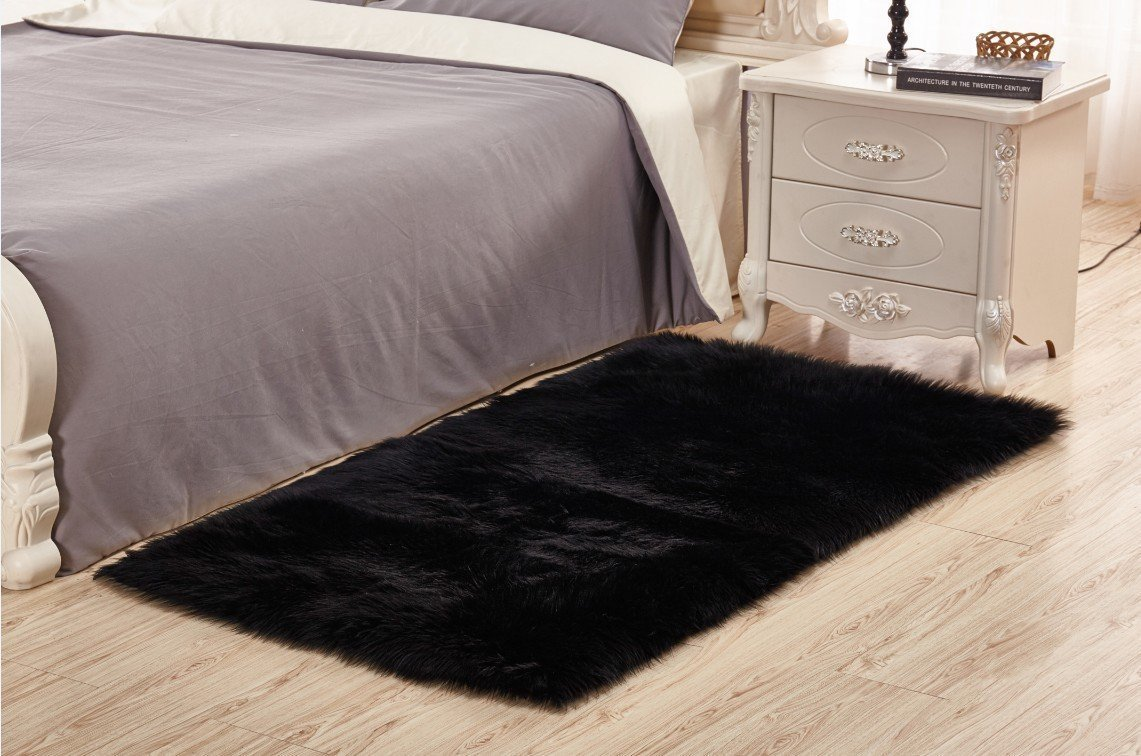 Home Decor Soft Mat Square Rugs Faux Fur Sheepskin Area Rug Shaggy Carpet Fluffy Rug for Baby Bedroom,Black,8x10ft Livingroom Rug