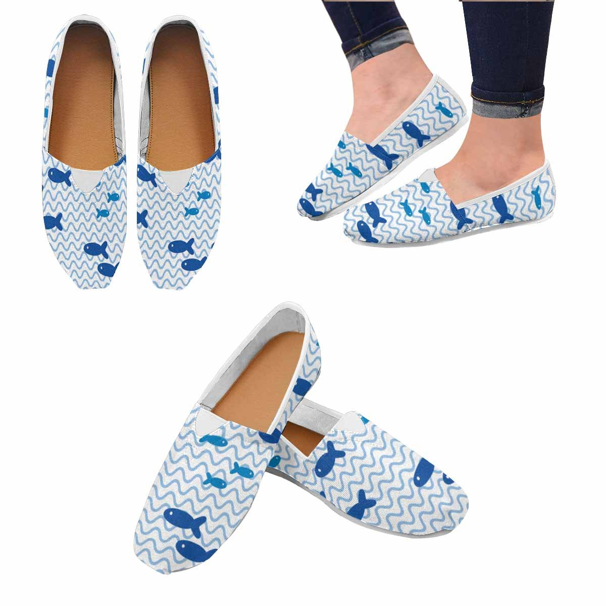 InterestPrint Womens Casual Comfort Flat Slip on Driving Walking Flats Shoes Fashion Loafers Blue Fish