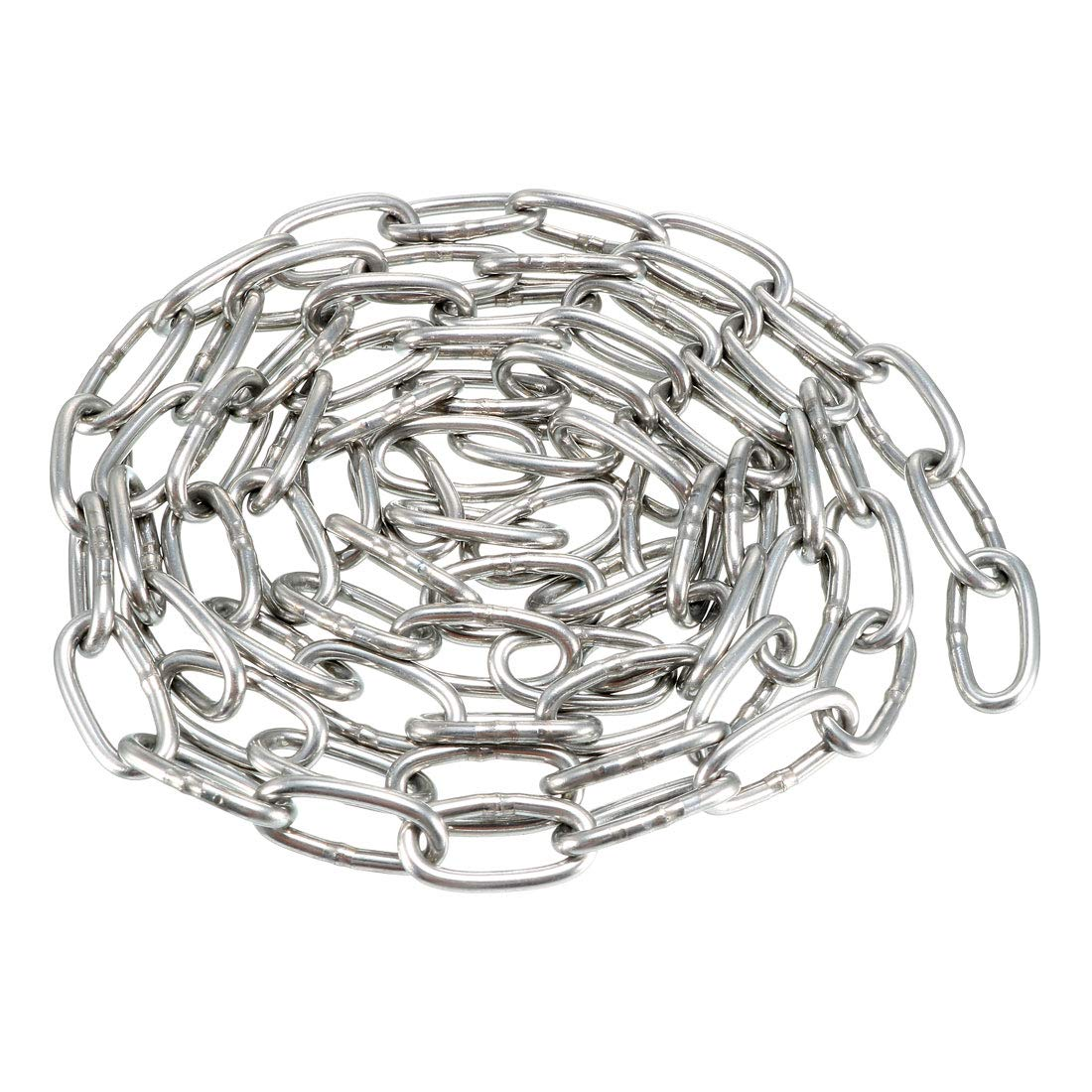 sourcing map Stainless Steel 304 Hardened Proof Coil Chain 1m Length 2mm Thickness Zinc Plated
