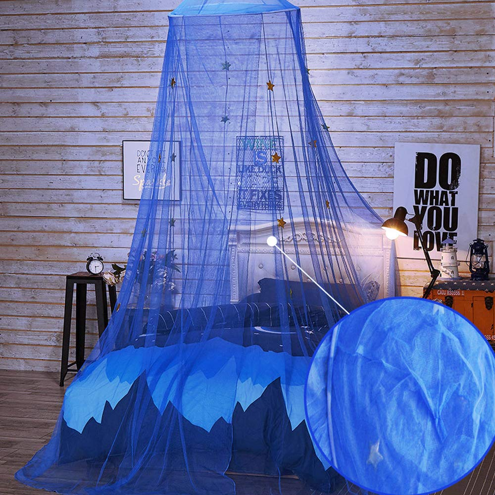 Princess Canopy For Girls /& Kids Bed Room Decor,Polyester Round Dome Baby Girl Play Tent With Stars,Foldable Mosquito Net Curtains Hanging Decorations Bedroom Netting For Playing,Reading Blue