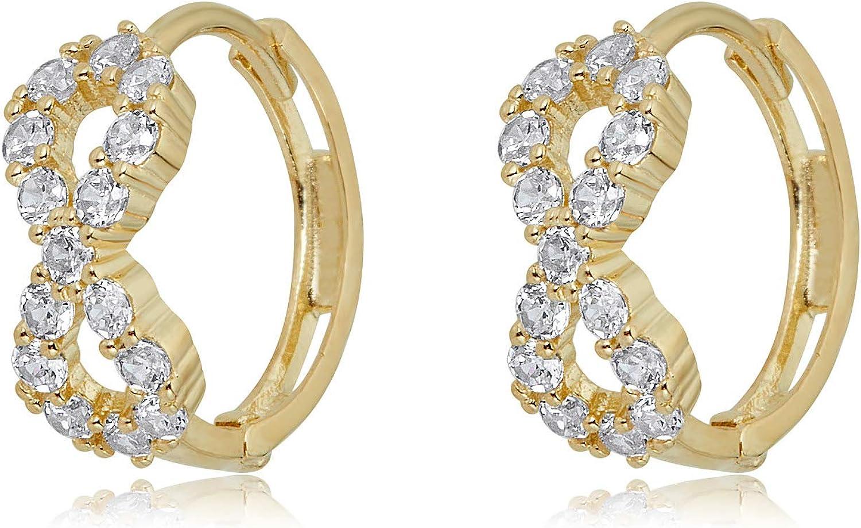 14K Yellow Gold CZ Stone Cross Hanging Drop Huggies Hinged Earrings Details about  /Ioka
