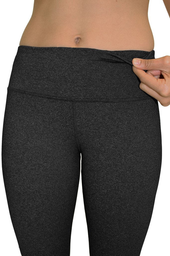 90 Degree By Reflex – Power Flex Yoga Capri – Cationic Heather Activewear Pants - Heather Charcoal XS by 90 Degree By Reflex (Image #3)