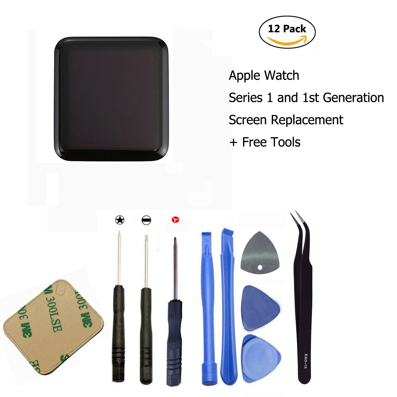 Ogodeal Screen Replacement for Apple Watch Series 1 A1803 and (1st generation) A1554 LCD & Digitizer Touch Screen Assembly 42 MM Sport Version