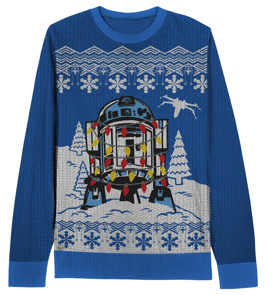 Star Wars Decorated R2D2 Blue Ugly Christmas Sweater (Youth Small)