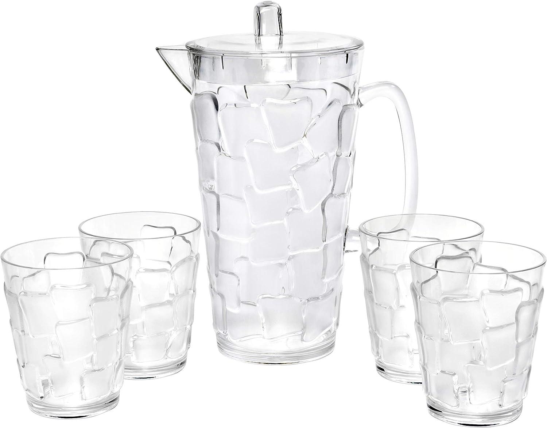 "Break Resistant""Frosted"" Clear 2.5 Qt. Plastic Pitcher and 4 Glasses Set - (83 oz - 17 oz)"
