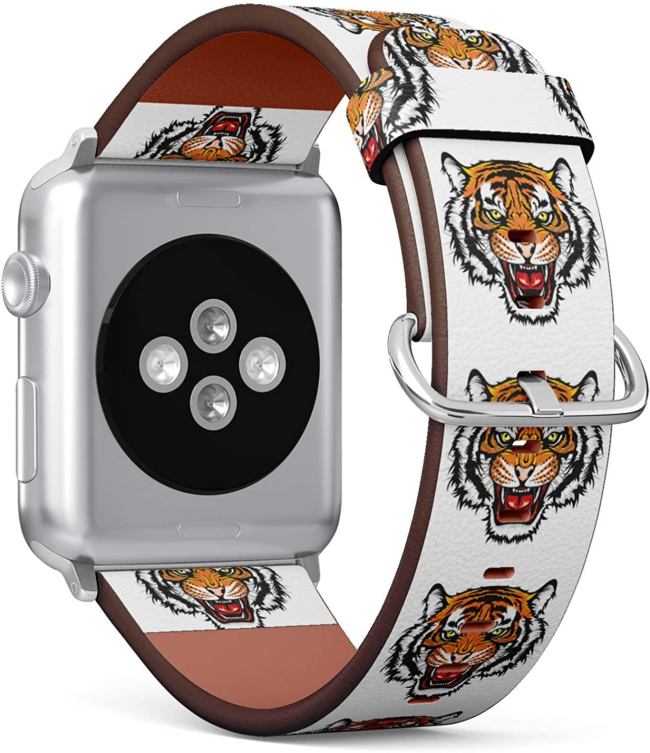 (Angry Tiger) Patterned Leather Wristband Strap for Apple Watch Series 4/3/2/1 gen,Replacement for iWatch 38mm / 40mm Bands