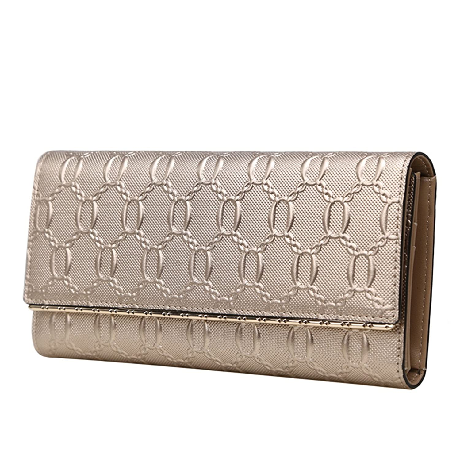 MATAGA Women Wallets Genuine Leather Clutch Card Holder Long Purse for Women Trifold JHFX241020