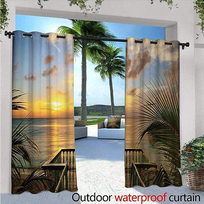 Ocean - Cortina de privacidad para exteriores con diseño de pérgola marítima. Anclaje de barco de vela, caballito de mar y estrella de mar. Ilustración de arte térmico, repelente al agua, para