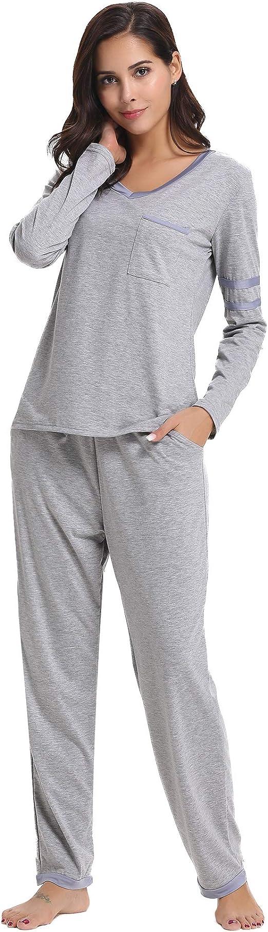 Hawiton Pijama Mujer de Algodón Invierno Otoño Mangas Larga Ropa de Domir 2 Piezas Pantalones Largo