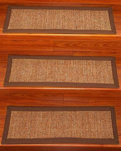 NaturalAreaRugs Boyd Sisal Carpet Stair Treads, 100% Natural Sisal, 9u0026quot;  X 29u0026quot
