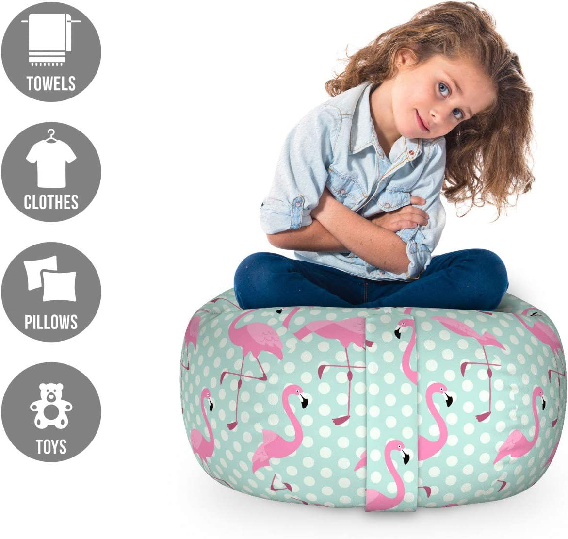 Birds of Hawaii Exotic Animals on Polka Dot Backdrop Ambesonne Pink Flamingo Storage Toy Bag Chair Large Size Mint Green Pale Pink Stuffed Animal Organizer Washable Bag for Kids