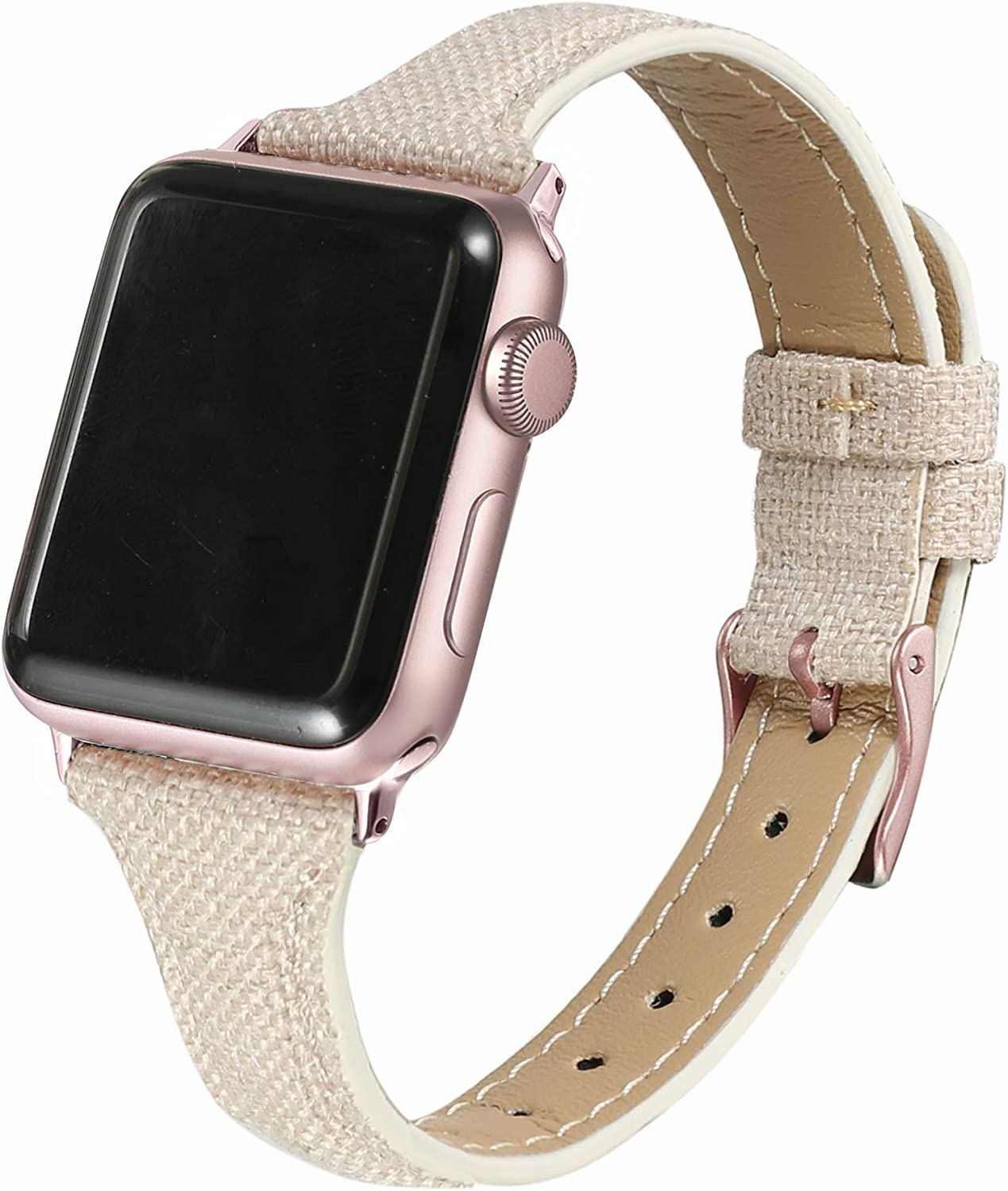 Secbolt Slim Woven Bands Compatible with Apple Watch Band 38mm 40mm, Classy Canvas Strap with Soft Leather Lining for iWatch SE Series 6/5/4/3/2/1, Beige