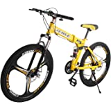 BestEquip Folding Mountain Bike 26 Inch 21 Speed Dual Disc Brakes Folding Bicycle High Carbon Steel Mountain Bike