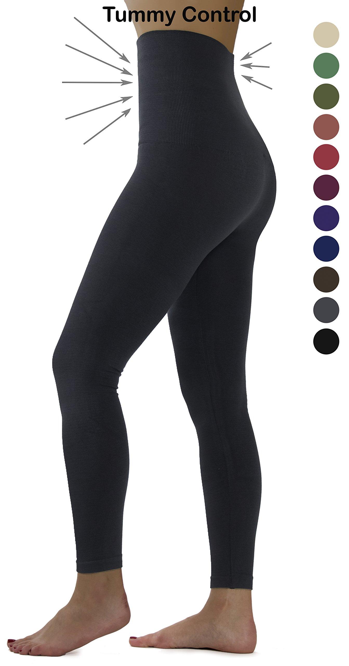Ylluo High Waist Leggings Fleece Lined Tights (L/XL/XXL (US Size 12-18), Charcoal Fleece)