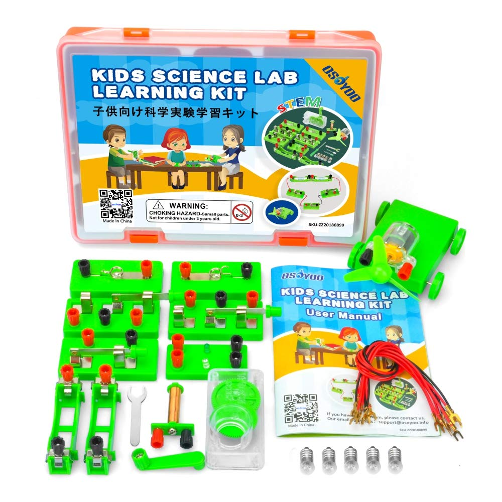 OSOYOO Science Project Learning Kit | Electricity Magnetism Circuit Building Experiment | Parallel Energy Problem Solving Set for Students | Stimulate Early STEM Intelligence IQ for Kids Girl Boy