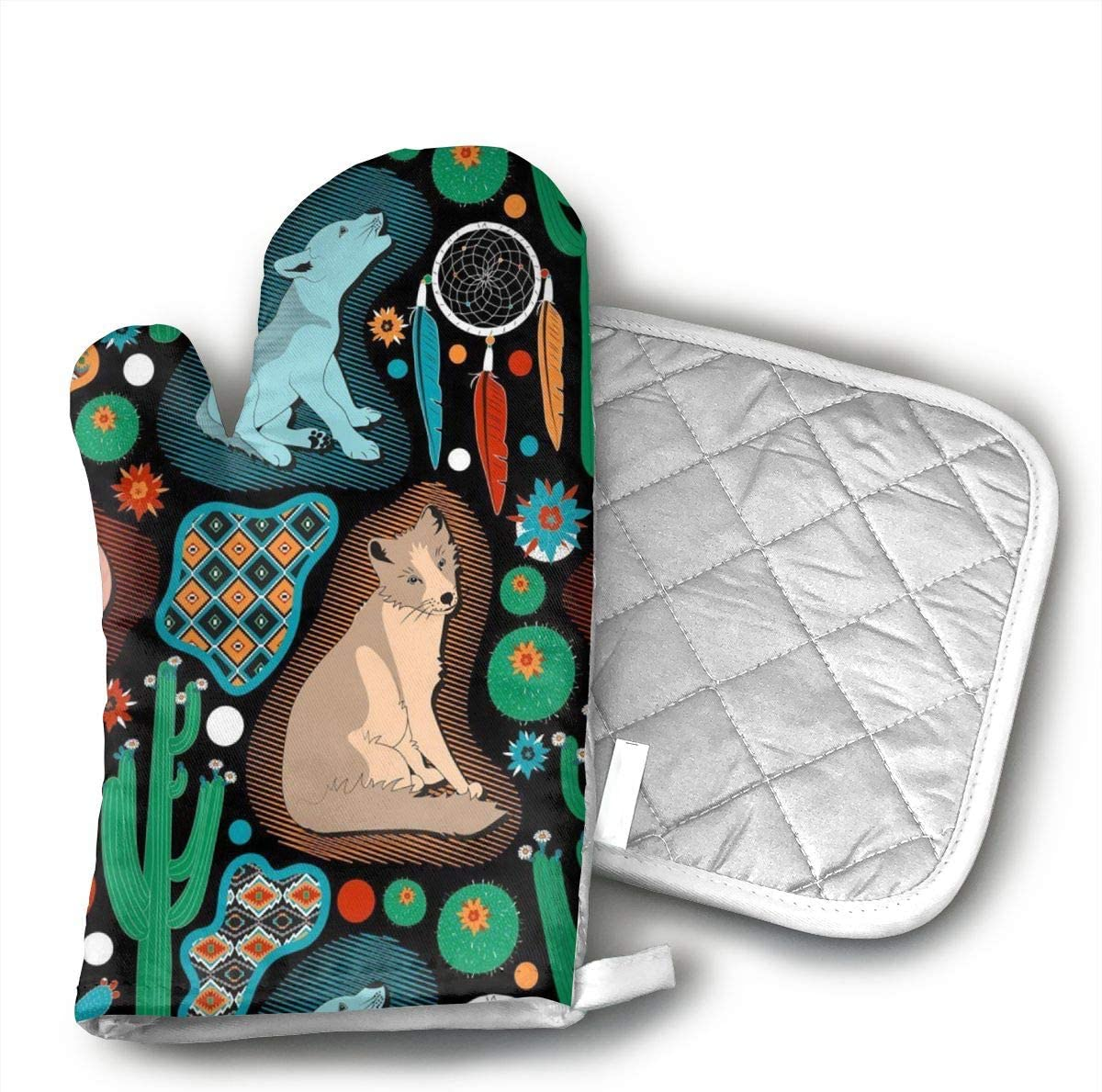 CHWEYAQ Southwest Baby Wolves Oven Mitts and Potholders Sets for Kitchen Counter Safe Mats and Advanced Heat Resistant Oven Mitt,
