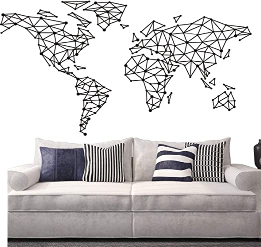 World Map Wall Art Vinyl Decal Stickers Home Decor Removable Mural Free Postage