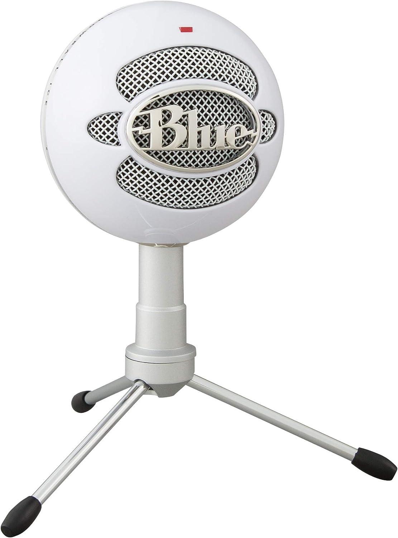 Blue Microphones Snowball ICE - Micrófono USB para grabación y transmisión en PC y Mac, cápsula de condensador cardioide, soporte ajustable, Plug and Play, color Blanco