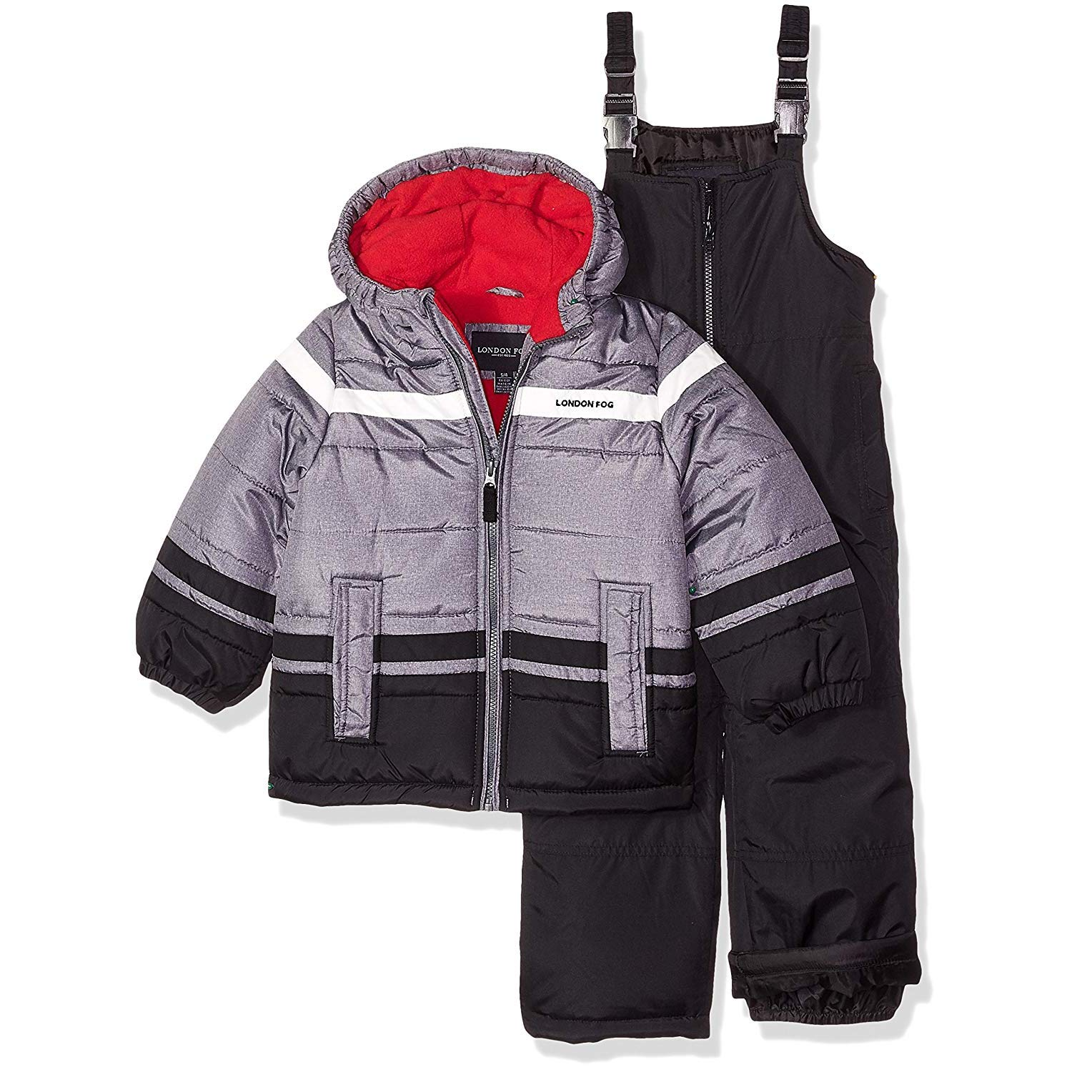 London Fog Boys' Little' 2-Piece Snow Pant & Jacket Snowsuit, Black Print/red pop, 4