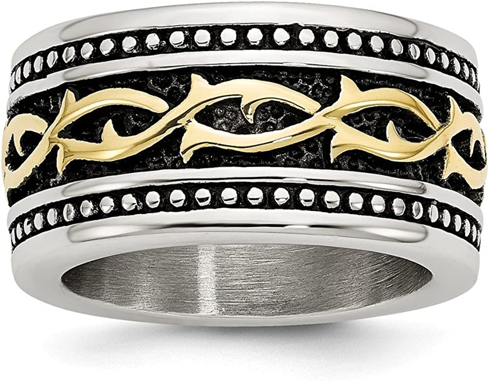 Jay Seiler Stainless Steel Antiqued and Yellow IP-Plated 13.25mm Ring Size 11,