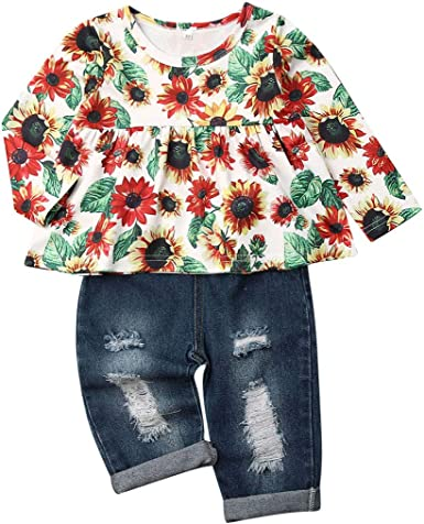 IFFEI Infant Baby Girls Ruffle Floral Long Sleeve Top with Distressed Denim Jeans Pants 2Pcs Clothes Outfit Set