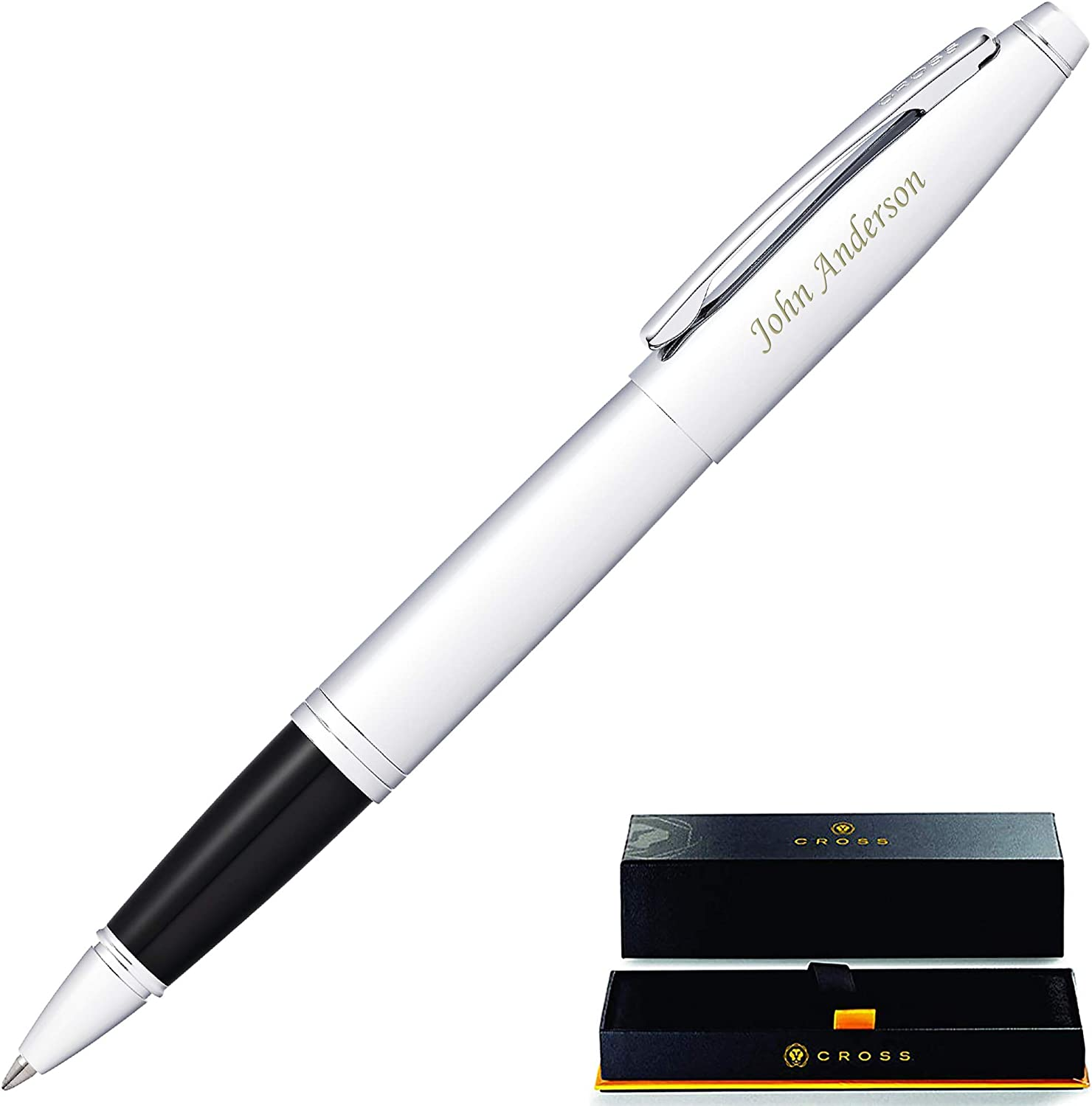 Custom Engraving AT0115-3 Engraved//Personalized Cross Calais Chrome//Blue Lacquer Selectip Rollerball Pen with Gift Box