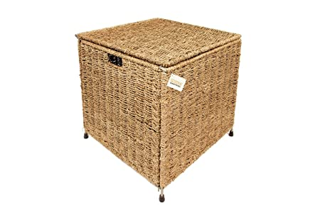 Woodluv Large Square Seagrass Storage Trunk Chest Basket Bathroom Bedroom    New
