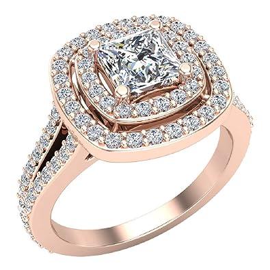 38c53b16de8be Magnificent Princess Diamond Cushion Halo V Shank Engagement Ring ...
