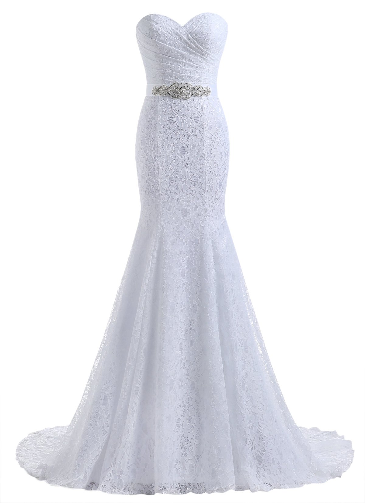Beautyprom Women's Lace Mermaid Bridal Wedding Dresses White US10