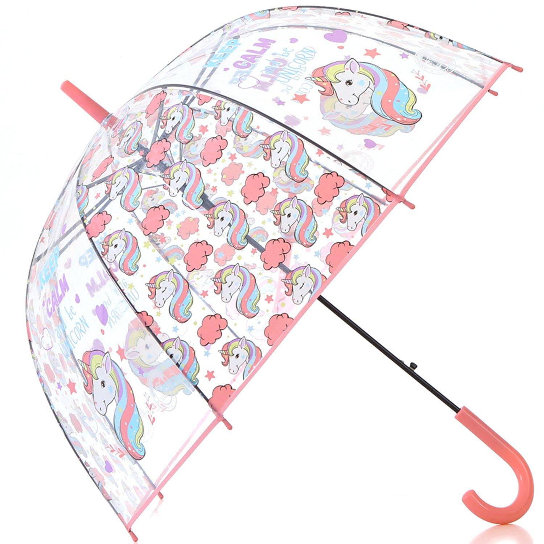 HAOCOO Unicorn Clear Umbrella,Bubble Transparent Fashion Dome Auto Open Umbrella Windproof for Outdoor Weddings or Events(Orange)