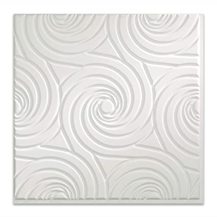 12X12 Inch Sample FAS/ÄDE Easy Installation Typhoon Gloss White Glue Up Ceiling Tile//Ceiling Panel