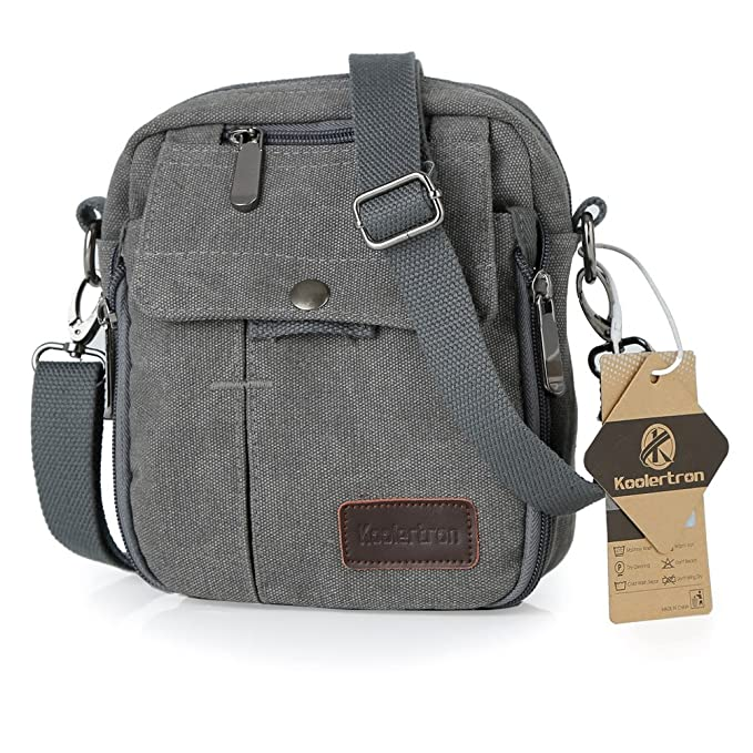 ebcc2041a6 Amazon.com  Koolertron Vintage Canvas Multifunction Crossbody Shoulder Bag  Men s Lightweight Small Satchel Bag Waist Bag (Grey)  Computers    Accessories