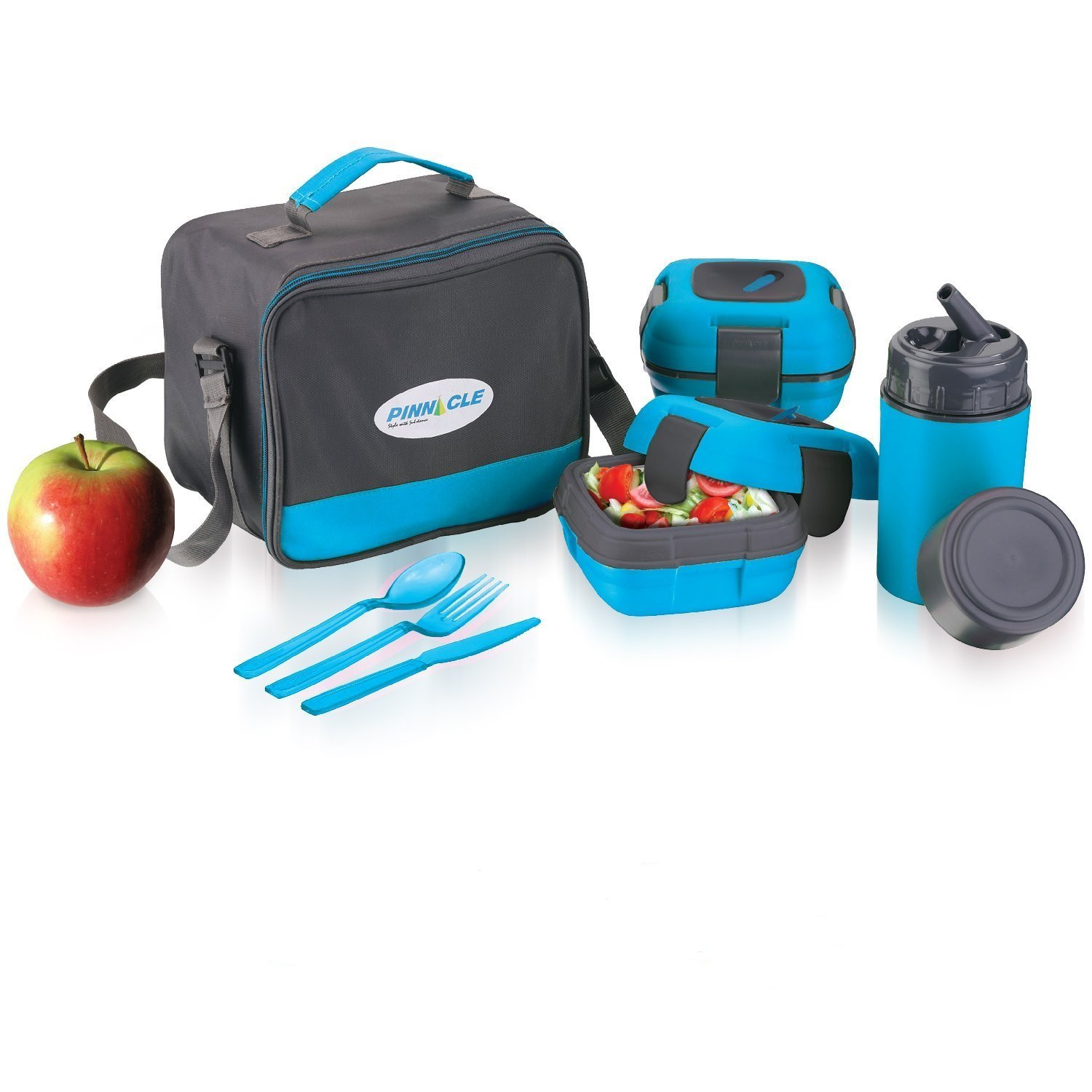 Insulated Lunch Box Bag Set for Adults and Kids ~ Pinnacle Insulated Leakproof Thermal Lunch KitLunch BagThermo bottle2 Lunch Containers With NEW Heat Release ValveMatching Cutlery (Blue)