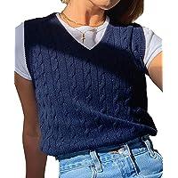 SMIMGO - Suéter de punto sin mangas para mujer, chaleco con diseño a cuadros, estilo Y2K